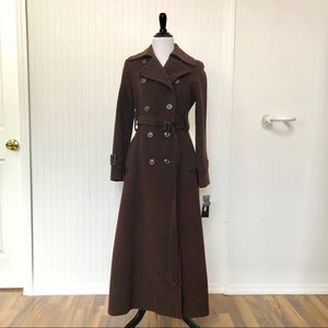 DKNY long wool double breasted brown coat